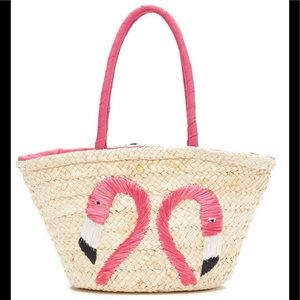 Pink Haley Eva Flamingo Straw Tote